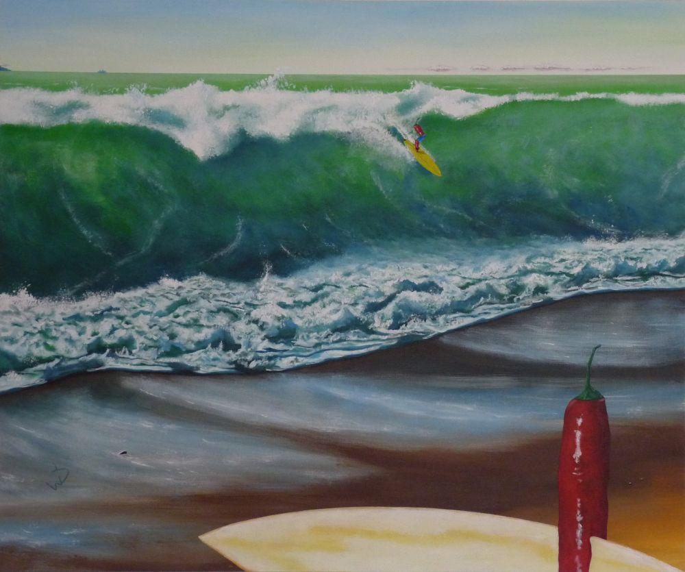 120x100cm, gelbes surfbrett