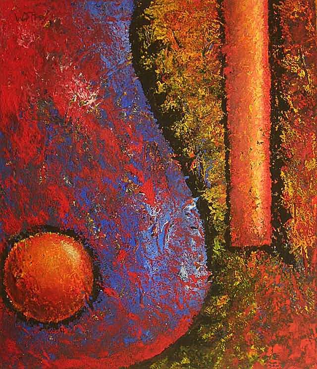 70x60cm, orangene kugel
