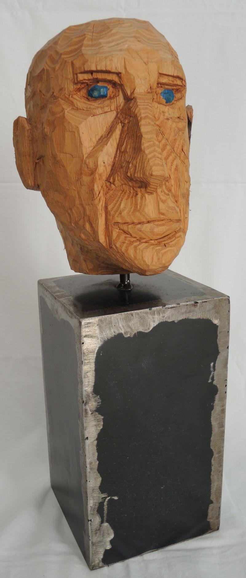 skulptur kopf, akazienholz