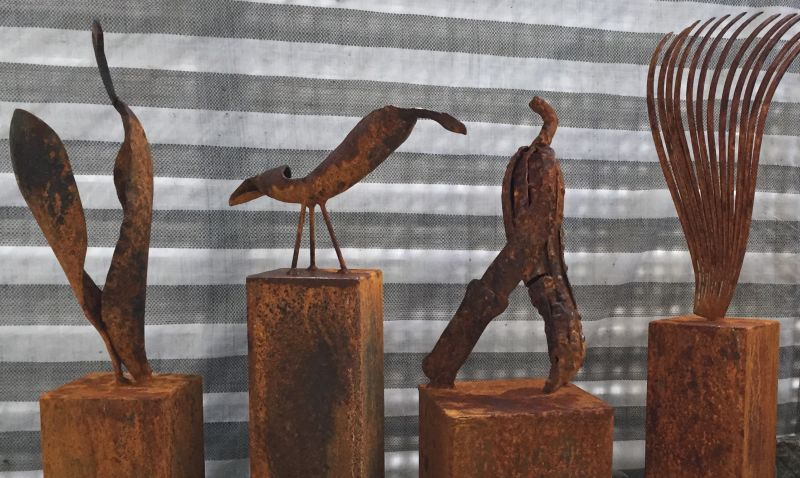 skulptur metall, rost